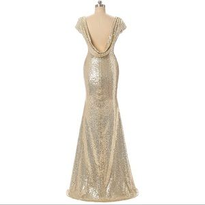 Scoop low back gold sequin dress